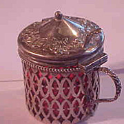 Victorian Style  Sterling Silver Mustard Pot with Cranberry Glass Insert