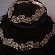 Vintage Mexican Mosaic Stone & 950 Silver Inlay Necklace & Bracelet Set