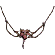 Lovely Art Nouveau Gold-Filled Festoon Necklace with Enamel