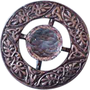 Large Iona Scottish Sterling Silver Brooch Pin with Pale Faceted Stone