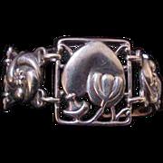 Rare McClelland Barclay Sterling Silver Heart & Flower Bracelet