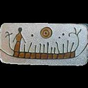 David Andersen Sterling Enamel Petroglyph Rock Carving Brooch by Gulbrandsen