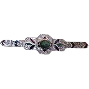 Antique Georgian Brooch Pin  14K and Sterling Silver, Diamond,  Emerald, Sapphire and Ruby Gem