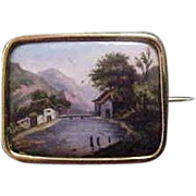 18K Yellow Gold  Victorian Scenic Hand Painted  Brooch