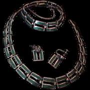 Vintage Margot de Taxco Sterling Silver  & Enamel Parure