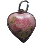 Vintage Rose Chintz Sterling Silver Puffy Heart