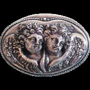 Henryk Winograd Sterling Silver Double Angel Cherub Pendant Brooch