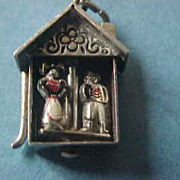 Vintage 40's  Weather house Sterling & Enamel Mechanical Charm
