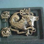 G. Cini Sterling Silver Taurus Zodiac Pin Brooch Earring Set