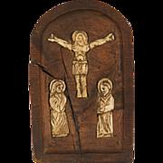 Flemish Bone Inlaid Walnut Religious Panel Circa 16th century