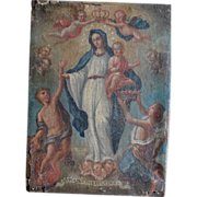19th Century Retablo- Mary and the Christ Child with Angels- Superb quality painting!