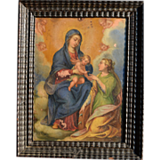 Superb 19th century retablo on tin of the Madonna and Christ Child with Saint Catherine ...