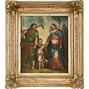 Painting on cloth- the Holy Family- Framed in exceptional european frame- circa 18th-19th ...