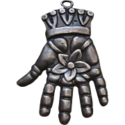 SALE PENDING Beautiful Antique Hamsa, Hand of God Sterling Pendant
