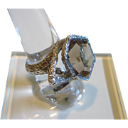 SALE Sterling Silver Topaz Modernist Ring