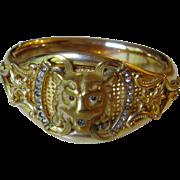 Victorian Gold Filled Lion Head Bracelet with Paste