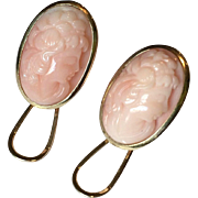 18k Gold & Carved Coral Cameo Earrings