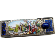 SOLD Vintage Italian Continental Silver & Enamel Lipstick Case Holder with Mirror