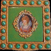 Vintage Italian Hand Painted Enamel Jeweled Powder Compact ~ Gorgeous!