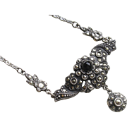 SALE Sale Mother's Day! Elegant Art Deco Sterling Marcasite Lavalier Necklace