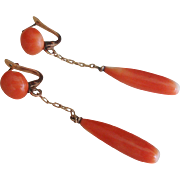 Victorian 10 Carat Gold and Coral Drop Pierced Earrings