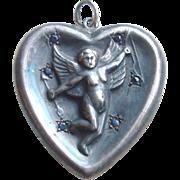 Victorian Sterling Silver Heart Pendant with Cherub