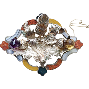 """Rare Scottish Agate and Sterling Silver """"Thistle"""" Brooch"""