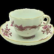 Meissen Rich Court Pink Dragon Cup & Saucer