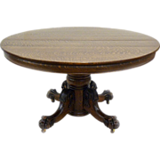 Round Oak Pawfoot Dining Table