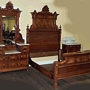 Victorian 3 Piece Bed Set,  Walnut with Marble Tops