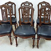 Set of 6 Walnut Gothic Chairs