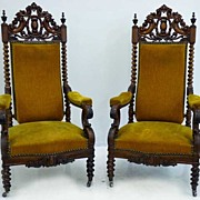 Matching Tall Backed Victorian Armchairs