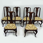 REDUCED Set of 6 Mahogany Queen Anne Chairs