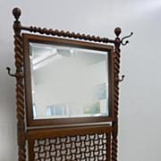 """Rare """"Merklen"""" Woven Panel Oak Hall Seat"""