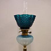 Rare Teal Blue OIl Lamp