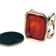 Large Antique 14K Yellow Gold Carnelian Intaglio Seal Ring