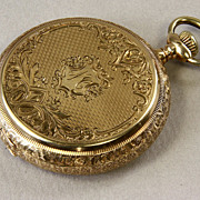 SALE 14K Gold American Waltham 16 Size Hunting Case Pocket Watch Ca: 1904