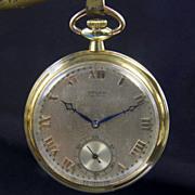 SALE 14K Yellow Gold Gruen Verithin Pocket Watch