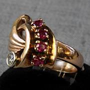SALE Deco 14K Ring with Rubies & 0.13 ct. Diamond