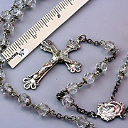 SALE Crystal & Sterling Silver Rosary