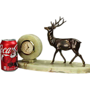 REDUCED Marble Desk Clock with Stag