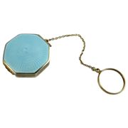 Art Deco Aqua Blue Guilloche and Sterling Rouge Compact