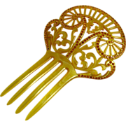Vintage Art Deco Celluloid Rhinestone Hair Comb Yellow