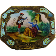 800 Silver Enamel Pill Box Courting Couple