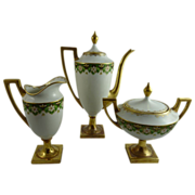 Limoges Pouyat Porcelain Federal Style Bachelor Coffee Set