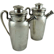 Pair of Silver Plated Cocktail Shakers Individual Size