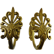 Large Victorian Gilt Brass Curtain Tiebacks