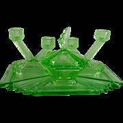 Vintage Art Deco Green Glass Vanity Set Bagley Bedford