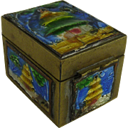 Chinese Export Brass and Enamel Stamp Box