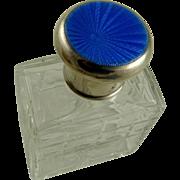Art Deco English Sterling Guilloche Cut Glass Cologne Travel Bottle